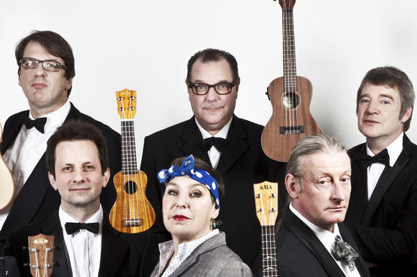 Members of the Ukulele Orchestra of Great Britain.