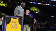 The Lakers retired Shaquille O'Neal's No. 34 jersey at halftime on Tuesday as the team hosted the Dallas Mavericks.