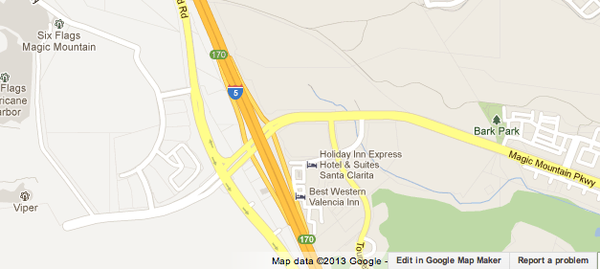 Map shows where a big rig spilled milk, forcing the closure of southbound 5 Freeway lanes.