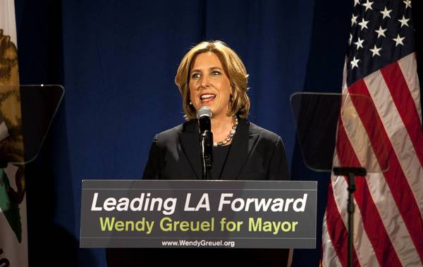 "In her speech at UCLA, Los Angeles mayoral hopeful Wendy Greuel said she would ""not shy away from telling my friends in labor that the city is going broke and cannot sustain"" current retirement benefits."
