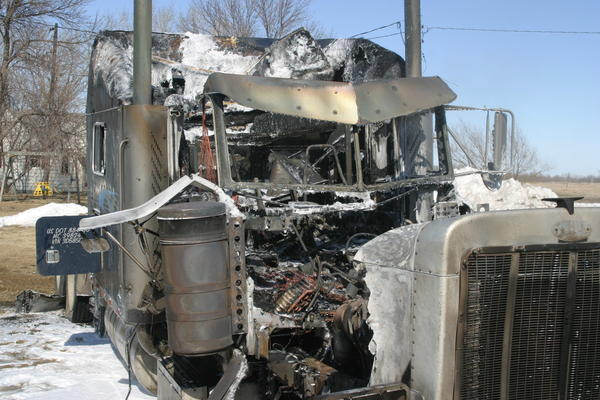 A semitruck was destroyed by a Tuesday fire near Claremont.