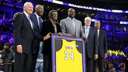 Shaquille O'Neal and Lakers greats