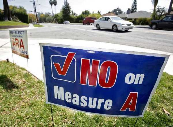 A 'No on Measure A' sign on Kenneth Road in Glendale.
