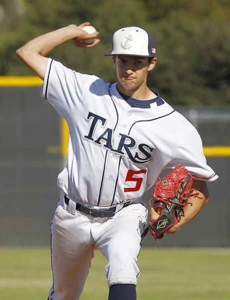 Newport Harbor's Connor Seabold hurls a pitch in the Beach Pit Classic against Greeley West of Colorado Tuesday.