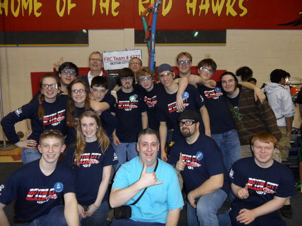 Boyne City High School robotics team members include (standing from left) Katelyn Skornia, Camden MacKenzie, Liz O'Donnell, head coach Dale Thomason, Forrest Kerr, Kelly Bellant, mentor Paul Brewer, Chris Moore, team captain David Rushlow, Richard Carpenter, Brendan Heath, Paul Esch-Laurent; (front from left) Jacob Brewer, volunteer Alison Burnell, mentor Dennis O'Donnell, assistant coach Tom Heath and Alex Stutzman. Team members not pictured include Jill Solomon, Irene Seaver, Kyle Sitkins and Landon Kartes. Others not pictured include mentors Kevin Moore and David Skornia and assistant coach Christine Swiss.