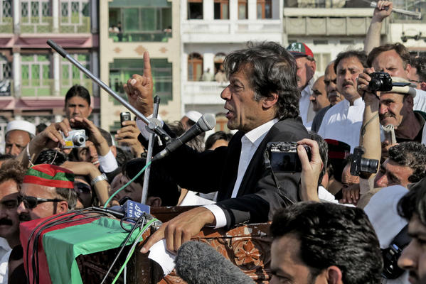 Pakistani cricket legend turned politician Imran Khan addresses supporters during a rally Sunday in the city of Mingora in northwestern Pakistan.