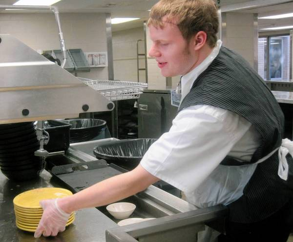 Sam Smetko works in Adventist La Grange Memorial Hospital's kitchen.