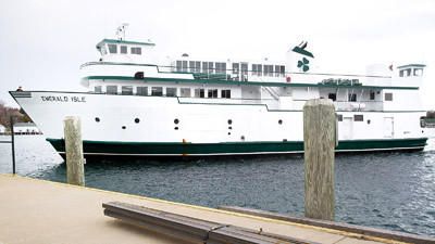 The Beaver Island ferry Emerald Isle docks in Charlevoix in the spring of 2012.