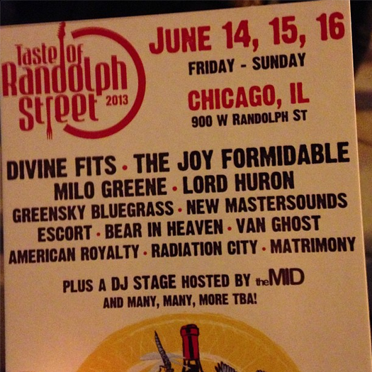 Flier for the 2013 Taste of Randolph Street music lineup.