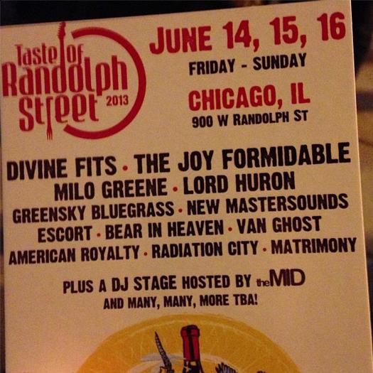 Flier for the 2013 Taste of Randolph Street music lineup.
