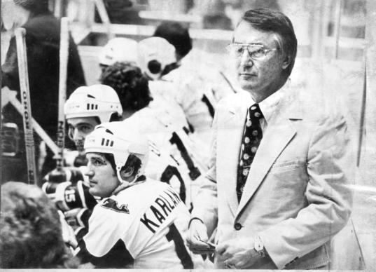 "January 1972 -- Jack Kelley, a successful coach at Boston University, joins the New England WHA franchise as coach and general manager. Newly formed team is named ""Whalers"" because it contains the letters of the new league, and it carries with it a part of the New England heritage."