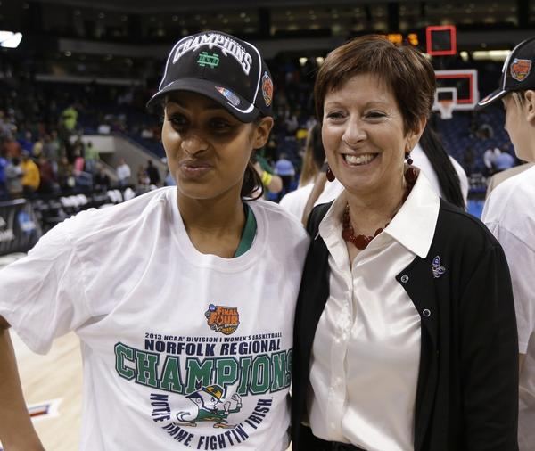 Notre Dame star Skylar Diggins, left, says she wants to win a national title for Coach Muffet McGraw.