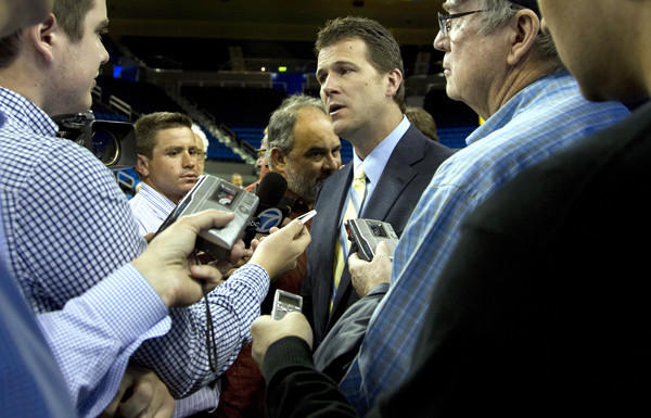UCLA Coach Steve Alford gets a taste of the L.A. media after being introduced as the Bruins' new basketball coach.