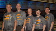 The Orlando-based Lodge Lanes Too team of, from left, Mitch Jabczenski of Novi, Mich.; John Gaines of Orlando; Scott Newell of DeLand; Vernon Peterson of Lake Wales; and John Janawicz of Winter Haven broke a 20-year-old U.S. Bowling Congress record Tuesday. (Photo courtesy of U.S. Bowling Congress)