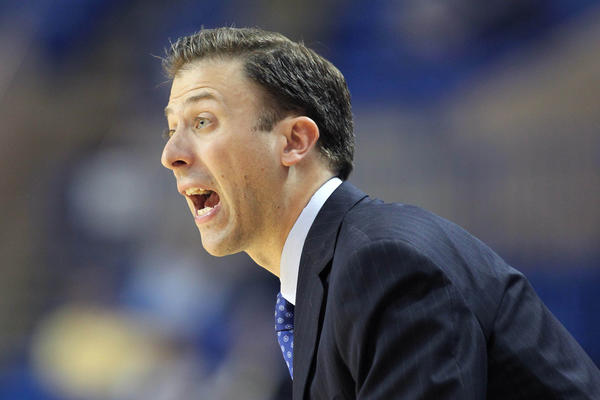 Florida International Panthers head coach Richard Pitino reacts during the championship game of the Sun Belt Conference tournament against the Western Kentucky Hilltoppers in March.