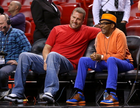 Celebs spotted at Miami Heat games - Ben Roethlisberger of the Pittsburgh Steelers and Spike Lee
