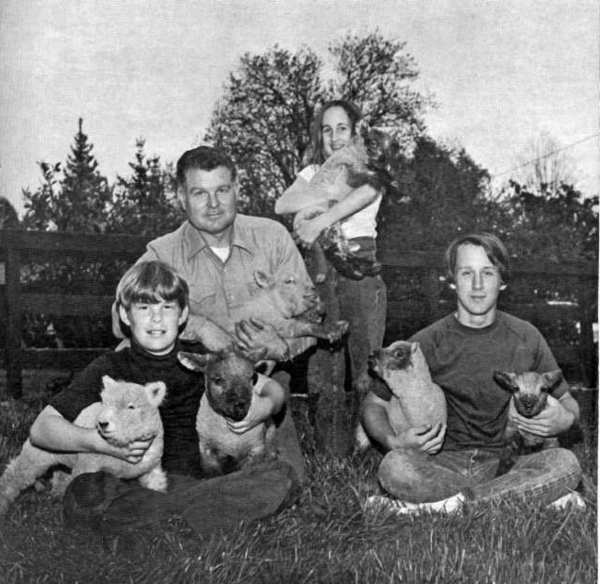 Three officers of the new La Canada 4-H Club pose in April 1973 with lambs and with their adult advisor, Bill Sanders. The youngsters, from left, are Ray Sanders, treasurer; Kristen Brenner, secretary and her brother, David Brenner, president of the club.