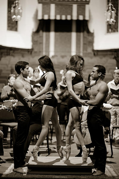 Orlando Ballet dancers rehearse with members of the Bach Festival Society.