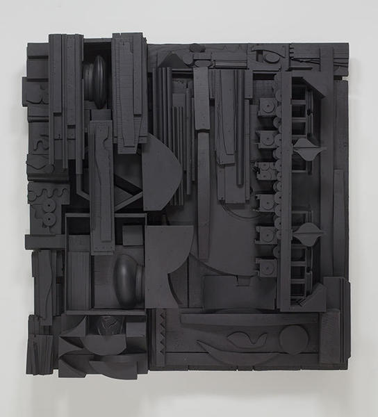 "Louise Nevelson, ""Moon Garden Gate X,"" 1973-1975, on black painted wood."