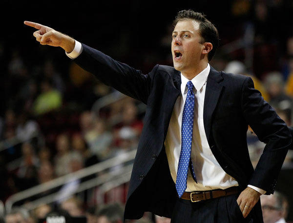 Florida International Golden Panthers head coach Richard Pitino reacts on the side line during the second half against the Boston College Eagles at Conte Forum. The Boston College Eagles won 84-70.