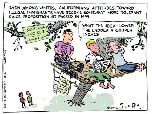 "Should this cartoon caption read: ""Attitudes toward immigrants who entered the country illegally""?"