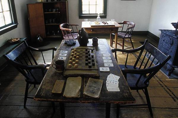 Men's game room at Stacy's Tavern Museum in Glen Ellyn.