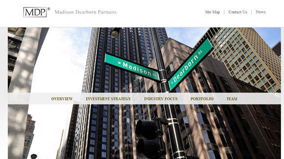 A screen grab from the home page of Madison Dearborn Partners shows where the private equity firm got its name.