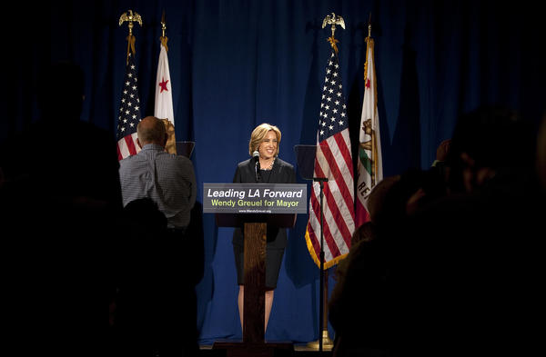 City Controller and mayoral candidate Wendy Greuel speaks at the Faculty Center at UCLA.