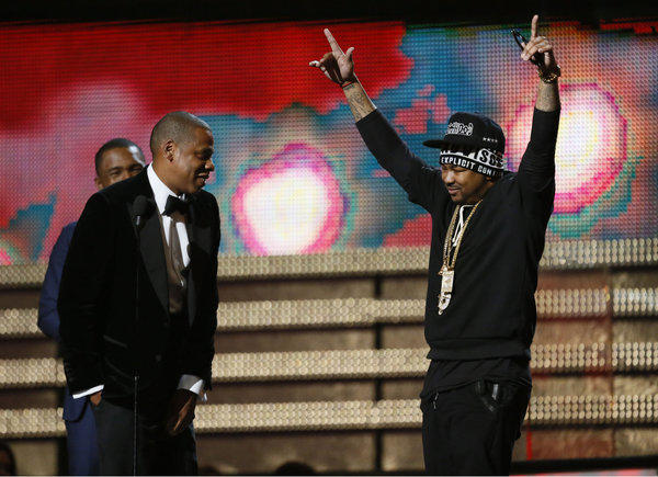Jay-Z, left, at the Grammys in February with The-Dream.