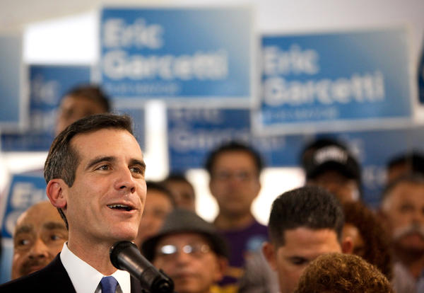 Eric Garcetti, candidate for mayor, addresses gathering at SEIU-USWW headquarters in Los Angeles.