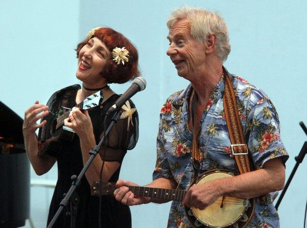 Janet Klein, shown performing with veteran British musician Ian Whitcomb in July in Fullerton, celebrates her 100th performance in Hollywood with her band the Parlor Boys on April 4.