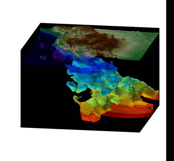 This 3-D image renders the mountainous topography of the western U.S. and the ancient oceanic plate from the surface down to a depth of 1,500 kilometers (color changes in depth increments of 200 km).