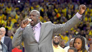 Before Shaquille O'Neal's jersey was retired Tuesday, he took a few digs at the current Lakers' big man.
