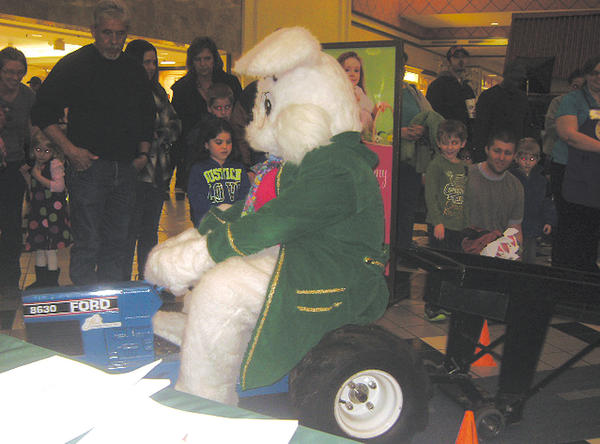 The Easter Bunny was the first to make a pull in the Washington County Farm Bureau Pedal Tractor Pull at Valley Mall.