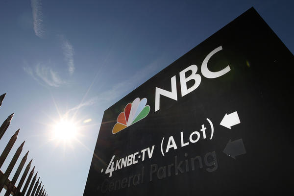An NBC sign stands at the the studios in Burbank.
