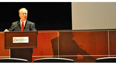 Pennsylvania Highlands Community College President Walter Asonevich discusses the state of the college on Wednesday.