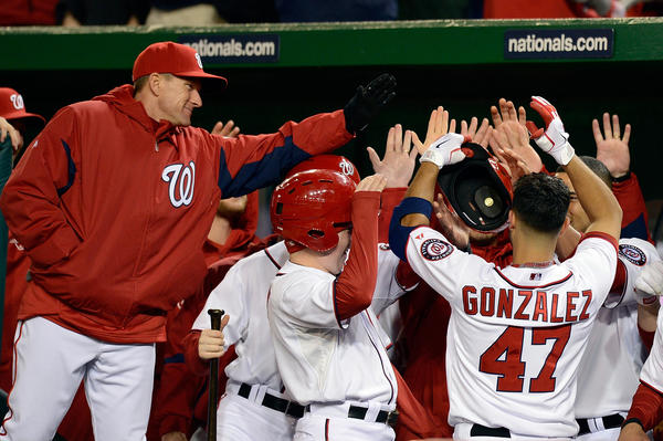 WASHINGTON, DC - APRIL 03: Gio Gonzalez #47 of the Washington Nationals celebrates after hitting a solo home run in the fifth inning during a game against the Miami Marlins at Nationals Park on April 3, 2013 in Washington, DC. (Photo by Patrick McDermott/Getty Images) ORG XMIT: 163492968