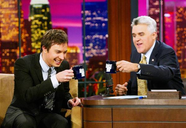 "Jimmy Fallon appears on ""The Tonight Show"" with Jay Leno in 2004."