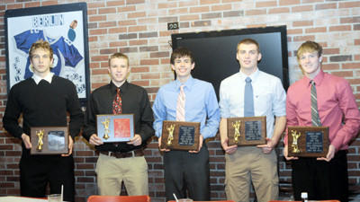 Members of the boys All-County First Team are from left: Wade Walker, Dillon Boyer, Ryan Fyock, Carter Slade and Drew Glotfelty.