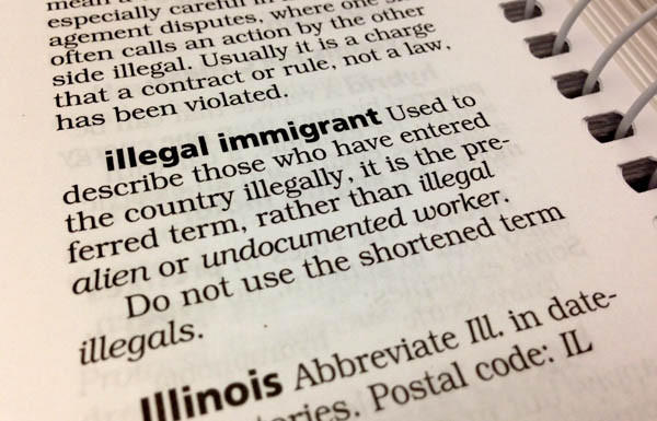 "The 2009 Associated Press Stylebook entry for 'illegal immigrant.' The AP announced it will no longer use the term ""illegal"" to describe people, only actions."