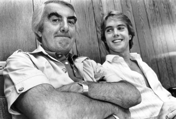 """Milo O'Shea, left, and Shaun Cassidy hang out in the dressing room of the Huntington Hartford Theater in 1983, when they were costarring in """"Mass Appeal."""""""