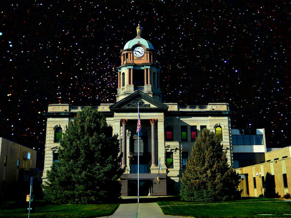 This take on the Brown County Courthouse is included in an exhibit at Eastbank Art Gallery in Sioux Falls.