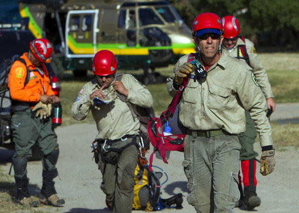 Search and rescue teams from Sierra Madre were involved in the search Wednesday afternoon for the missing hikers.