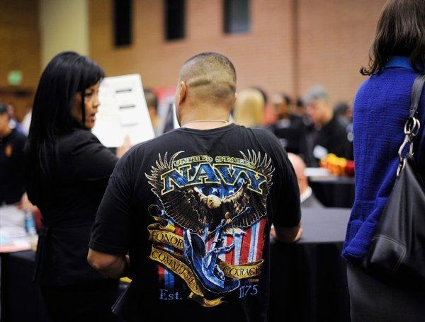 A job fair for veterans at USC in Los Angeles last month.