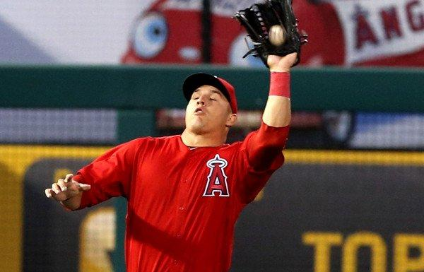 Outfielder Mike Trout and the Angels are off to a slow start at the plate this season.