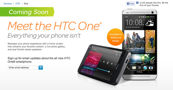 AT&T will begin taking pre-orders for the HTC One on Thursday at 11 a.m. PDT.