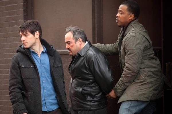 "David Giuntoli, left, as Nick Burkhardt, David Zayaz and Russell Hornsby in ""Grimm."""