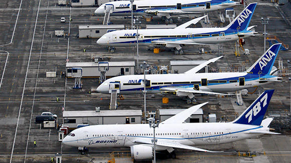 Boeing planes sit on the tarmac at Paine Field outside the company's manufacturing and assembly plant in Everett, Wash. in 2010.