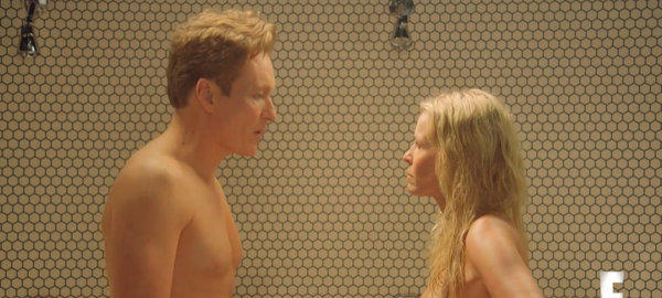 "Conan O'Brien and Chelsea Handler fight in the shower nude during a ""Chelsea Lately"" sketch."