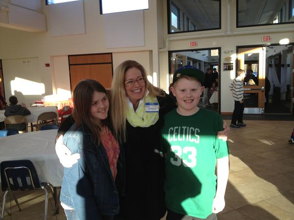 Dawn Brenner (center) with the two children, Hailey Winschel (left) and Sam Scott (right) who collected donations in lieu of presents at their birthday parties.